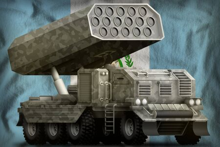 rocket artillery, missile launcher with grey camouflage on the Guatemala flag background. 3d Illustration