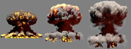3 huge different phases fire mushroom cloud explosion of nuclear bomb with smoke and flames isolated on grey background - 3D illustration of explosion