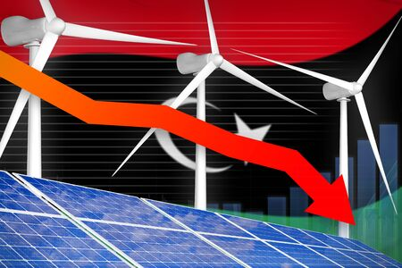 Libya solar and wind energy lowering chart, arrow down  - environmental energy industrial illustration. 3D Illustration