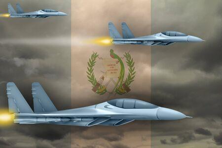 Guatemala air strike concept. Modern war airplanes attack on Guatemala flag background. 3d Illustration