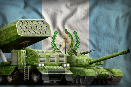 tank and rocket launcher with summer pixel camouflage on the Guatemala flag background. Guatemala heavy military armored vehicles concept. 3d Illustration 版權商用圖片