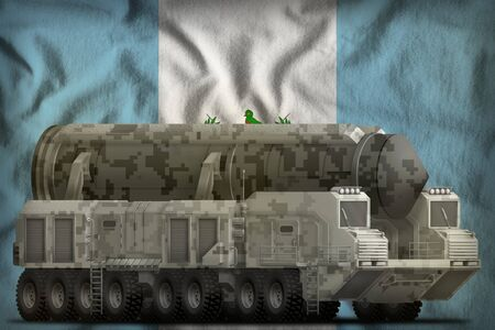 intercontinental ballistic missile with city camouflage on the Guatemala flag background. 3d Illustration
