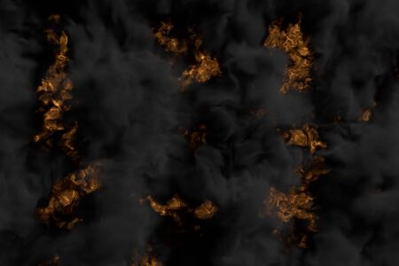 Flames on background and dense smoking clouds above the blazing fireplace - fire 3D illustration