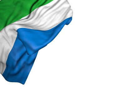 nice Sierra Leone flag with large folds lying in top left corner isolated on white - any celebration flag 3d illustration 版權商用圖片
