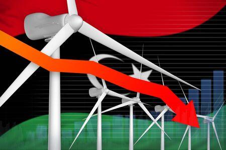 Libya wind energy power lowering chart, arrow down  - green energy industrial illustration. 3D Illustration Foto de archivo