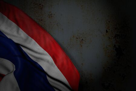 cute dark picture of Thailand flag with big folds on rusty metal with empty space for your content - any celebration flag 3d illustration 版權商用圖片