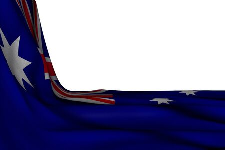 wonderful isolated mockup of Australia flag hanging in corner on white with free space for text - any holiday flag 3d illustration