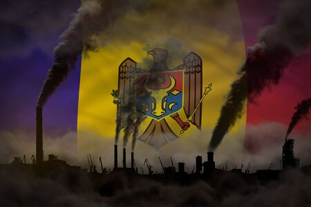 heavy smoke of factory chimneys on Moldova flag - global warming concept, background with place for your content - industrial 3D illustration