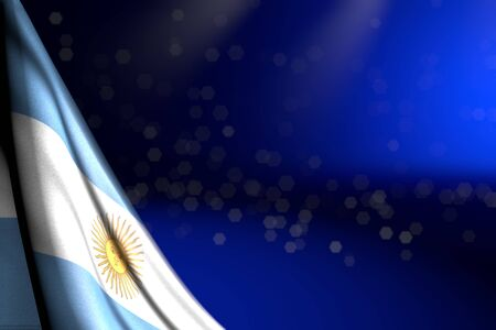 pretty any celebration flag 3d illustration  - illustration of Argentina flag hangs in corner on blue with bokeh and free space for your content