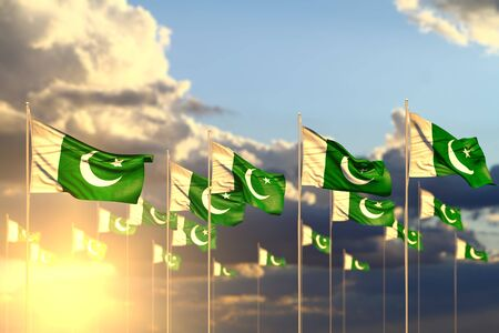 cute many Pakistan flags on sunset placed in row with selective focus and space for content - any celebration flag 3d illustration