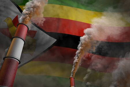 Zimbabwe pollution fight concept - two big factory pipes with dense smoke on flag background, industrial 3D illustration