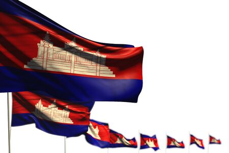 cute Cambodia isolated flags placed diagonal, illustration with bokeh and place for your text - any holiday flag 3d illustration