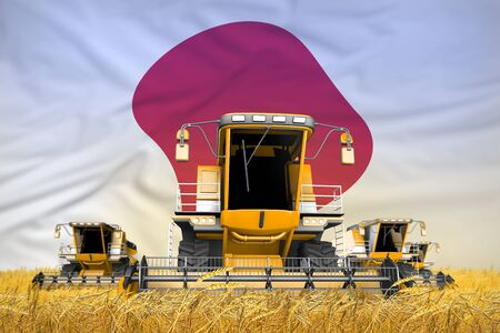 four orange combine harvesters on rye field with flag background, Japan agriculture concept - industrial 3D illustration