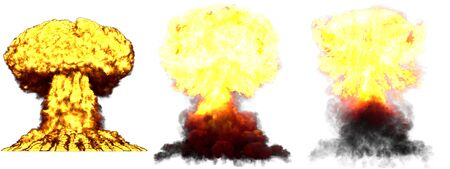 3 large high detailed different phases mushroom cloud explosion of super bomb with smoke and fire isolated on white - 3D illustration of explosion