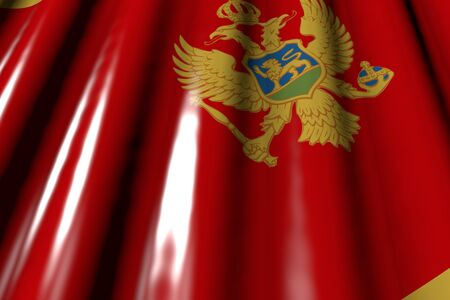 nice glossy - looking like plastic flag of Montenegro with big folds lying flat diagonal - any celebration flag 3d illustration 版權商用圖片