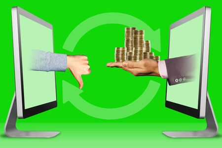 ecommerce concept, hands from laptops. thumbs down, dislike and coins . 3d illustration