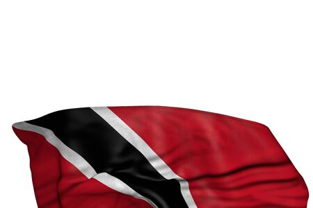 pretty Trinidad and Tobago flag with large folds lie in the bottom isolated on white - any holiday flag 3d illustration  版權商用圖片