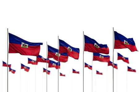 nice Haiti isolated flags placed in row with selective focus and space for content - any occasion flag 3d illustration