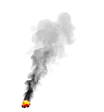 dense burning touristic campfire place with heavy black smoke isolated on white color, creative fire 3D illustration Stock fotó