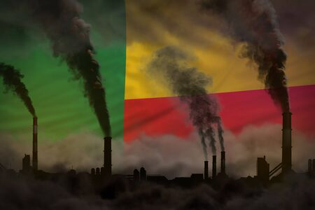 Dark pollution, fight against climate change concept - industry pipes heavy smoke on Benin flag background - industrial 3D illustration Фото со стока