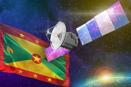 Satellite with Grenada flag, space communications technology concept - 3D Illustration