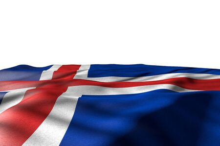 pretty day of flag 3d illustration  - mockup illustration of Iceland flag lay with perspective view isolated on white with place for your text