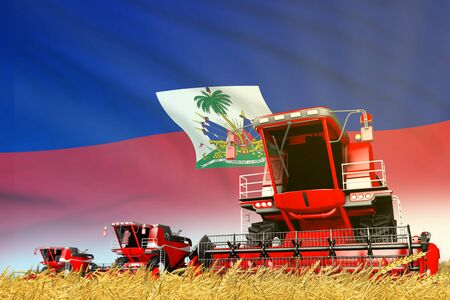 industrial 3D illustration of red grain agricultural combine harvester on field with Haiti flag background, food industry concept