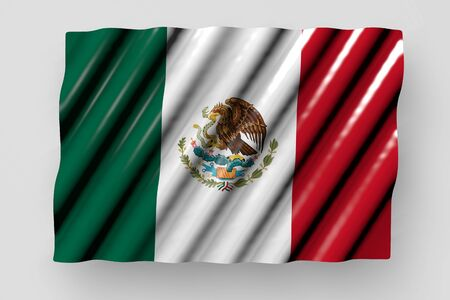 beautiful labor day flag 3d illustration  - shining flag of Mexico with large folds lie isolated on grey 版權商用圖片
