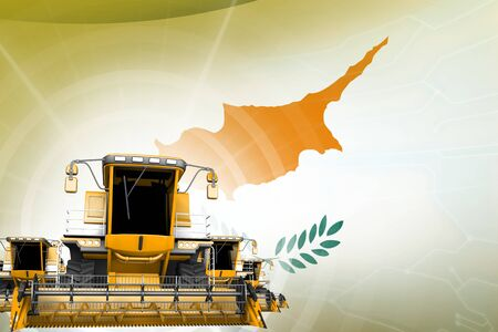 Farm machinery modernisation concept, yellow modern wheat combine harvesters on Cyprus flag - digital industrial 3D illustration