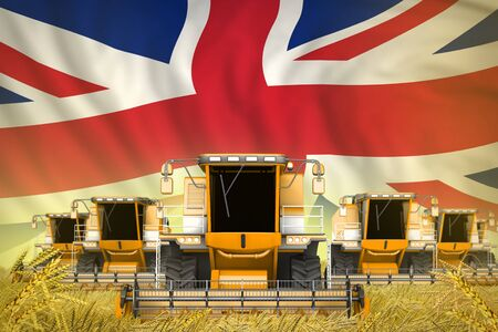 a lot of yellow farming combine harvesters on farm field with United Kingdom (UK) flag background - front view, stop starving concept - industrial 3D illustration