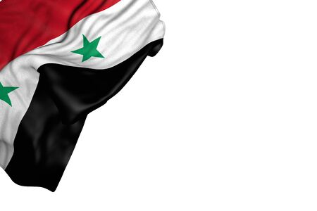 cute holiday flag 3d illustration  - Syrian Arab Republic flag with big folds lay in top left corner isolated on white