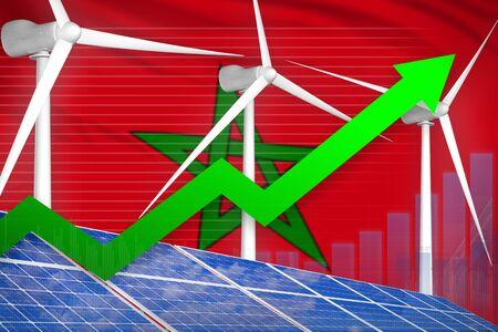 Morocco solar and wind energy rising chart, arrow up  - alternative energy industrial illustration. 3D Illustration Foto de archivo - 129450624