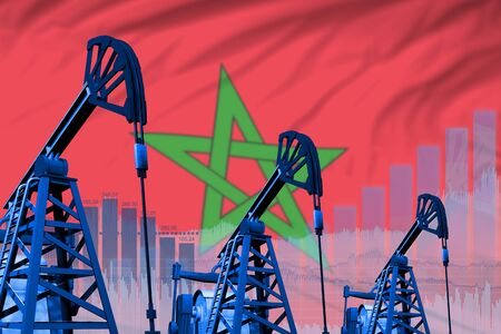 Morocco oil and petrol industry concept, industrial illustration on Morocco flag background. 3D Illustration