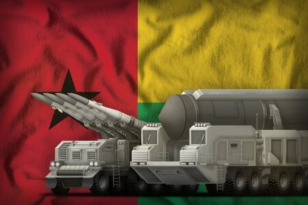 rocket forces on the Guinea-Bissau flag background. Guinea-Bissau rocket forces concept. 3d Illustration