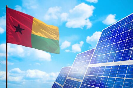 Guinea-Bissau alternative energy, solar energy concept with flag - symbol of fight with global warming - industrial illustration, 3D illustration