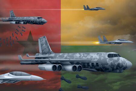Guinea-Bissau bomb air strike concept. Modern Guinea-Bissau war airplanes bombing on flag background. 3d Illustration