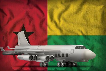 bomber on the Guinea-Bissau flag background. 3d Illustration
