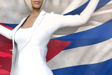 cute business lady is holding Cuba flag in her hands behind her on the office building background - flag concept 3d illustration Stok Fotoğraf