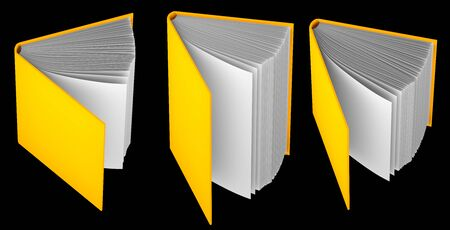 cute highly detailed yellow book opened by half, symbol of the day of knowledge isolated on black - 3d illustration of object