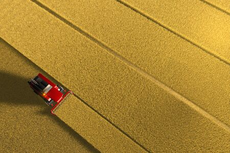 Industrial 3D illustration of red wheat agricultural harvester working on large yellow field - view from above in aerial shooting style
