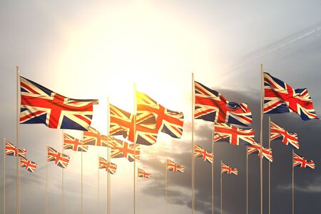 wonderful many United Kingdom (UK) flags in a row on sunset with empty place for your content - any feast flag 3d illustration