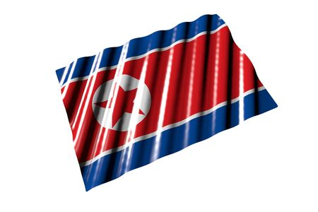 wonderful shiny flag of North Korea with big folds lying flat isolated on white, perspective view - any holiday flag 3d illustration