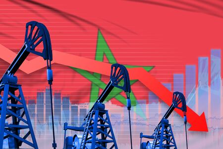 Morocco oil industry concept, industrial illustration - lowering, falling graph on Morocco flag background. 3D Illustration Reklamní fotografie