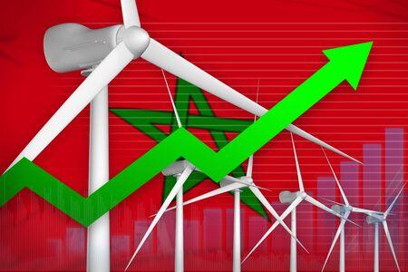 Morocco wind energy power rising chart, arrow up  - modern energy industrial illustration. 3D Illustration Foto de archivo - 129450774
