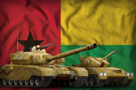 tanks with orange camouflage on the Guinea-Bissau flag background. Guinea-Bissau tank forces concept. 3d Illustration