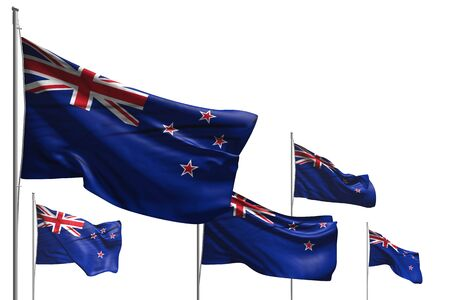beautiful any feast flag 3d illustration  - five flags of New Zealand are wave isolated on white