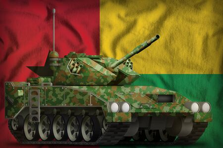 light tank apc with summer camouflage on the Guinea-Bissau flag background. 3d Illustration 写真素材