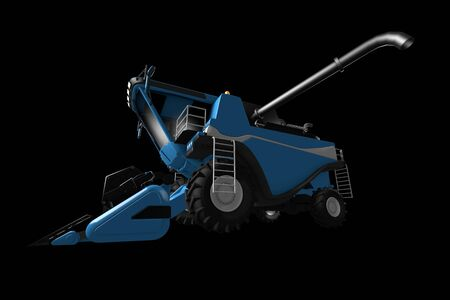 big cg blue rural harvester with grain pipe detached side view isolated on black - industrial 3D illustration