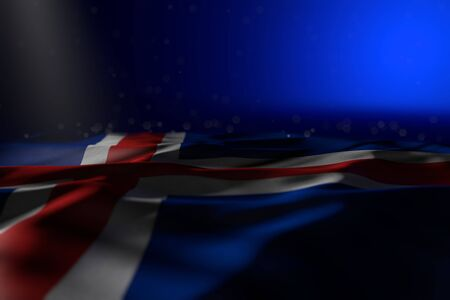 wonderful celebration flag 3d illustration  - dark photo of Iceland flag lie on blue background with selective focus and free place for your text