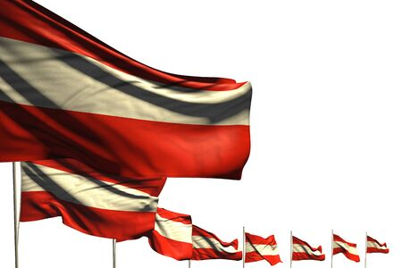 pretty many Austria flags placed diagonal isolated on white with space for your content - any celebration flag 3d illustration